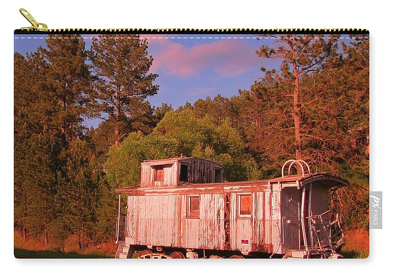 Train Art Carry-all Pouch featuring the photograph Old Train Caboose by John Malone