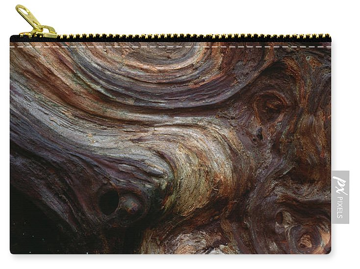 North America Carry-all Pouch featuring the photograph Old Tree Trunk With Knots And Patterns by Jim Corwin