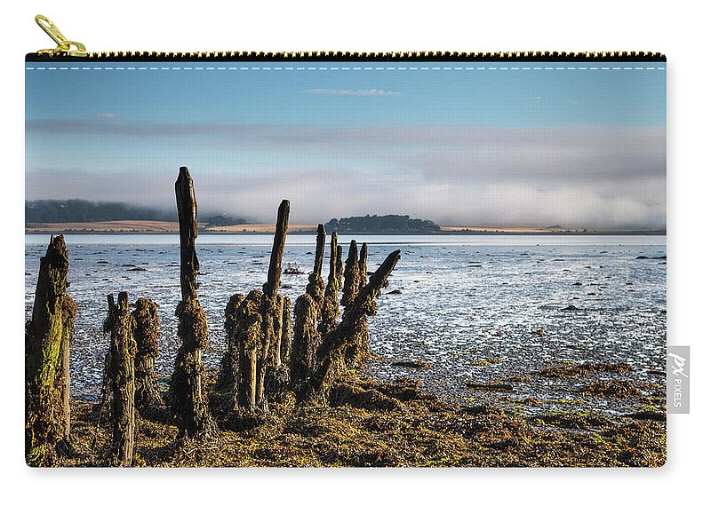 Seaweed Carry-all Pouch featuring the photograph Old Tree Trunks Covered In Seaweed At by John Short / Design Pics
