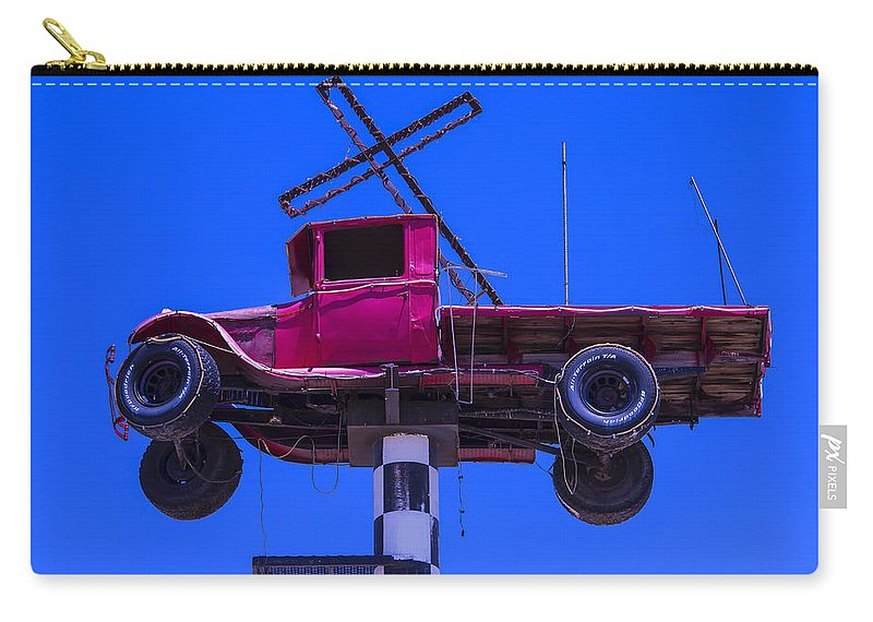Red Carry-all Pouch featuring the photograph Old Truck With Cross by Garry Gay
