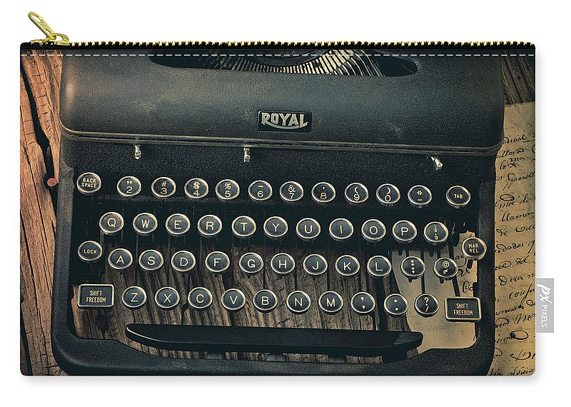 Old Typewriter Carry-all Pouch featuring the photograph Old Typewriter With Letter by Garry Gay