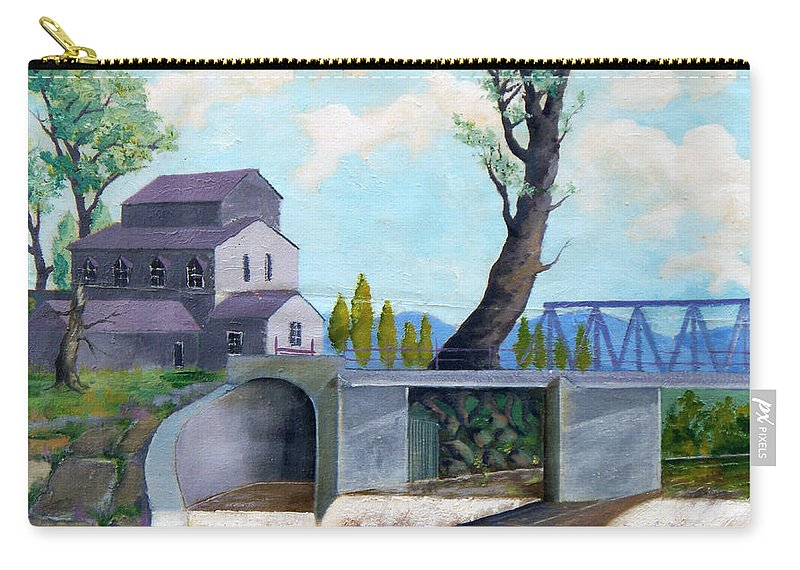 Old Carry-all Pouch featuring the painting Old Water Mill by Sergey Bezhinets