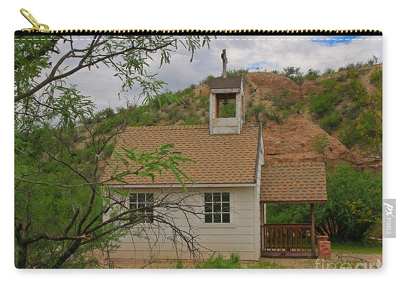Old West Church In The Desert Carry-all Pouch featuring the photograph Old West Church In The Desert by John Malone