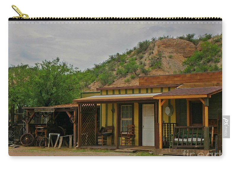 Old Antiques Carry-all Pouch featuring the photograph Old West Homestead by John Malone