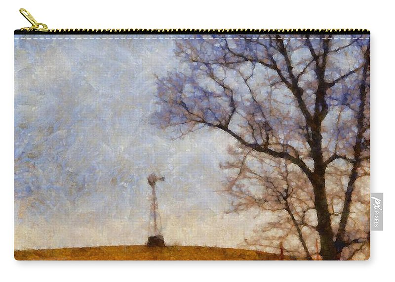 Old Windmill On The Farm Carry-all Pouch featuring the painting Old Windmill On The Farm by Dan Sproul