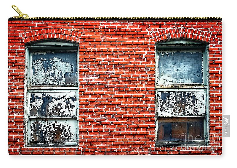 Abstract Carry-all Pouch featuring the photograph Old Windows Bricks by Henrik Lehnerer