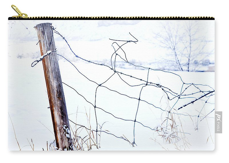 Winter Carry-all Pouch featuring the photograph Old Wire Fence by Theresa Tahara