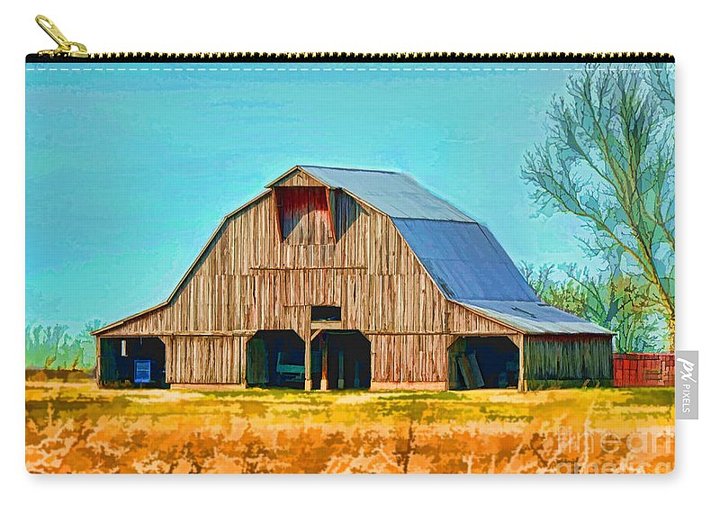Rustic Carry-all Pouch featuring the photograph Old Wood Barn Digital Paint by Debbie Portwood