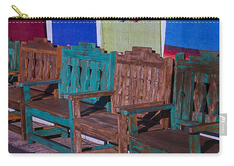 Blue Carry-all Pouch featuring the photograph Old Wooden Benches by Garry Gay