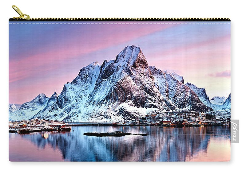 2012 Carry-all Pouch featuring the photograph Olstind Lofoten Islands Norway by Richard Burdon