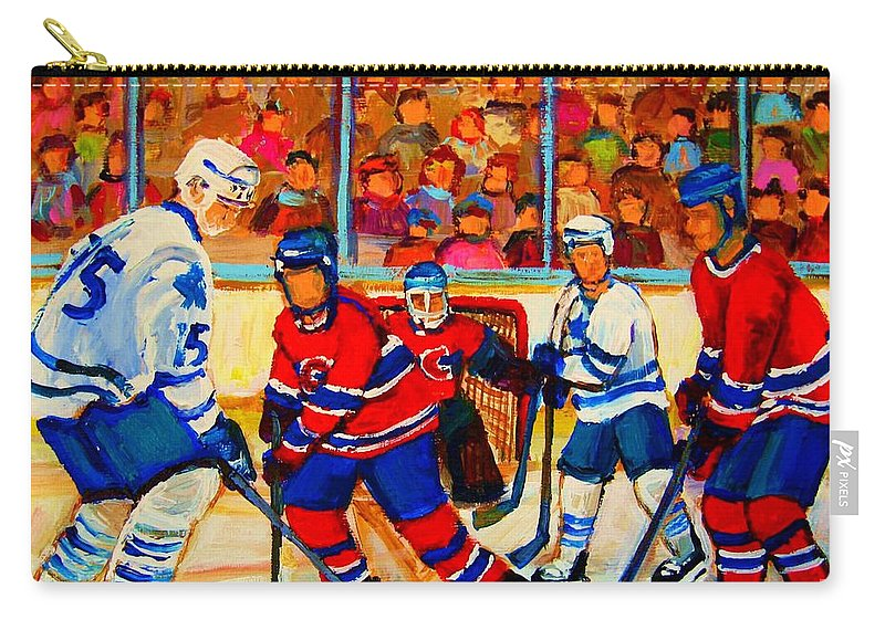 Hockey Carry-all Pouch featuring the painting Olympic Hockey Hopefuls Painting By Montreal Hockey Artist Carole Spandau by Carole Spandau