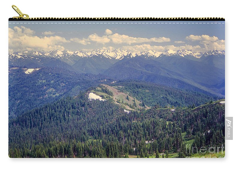 Olympic National Park Washington Parks Tree Trees Forest Forests Nature Landscape Landscapes Mountain Mountains Peak Peaks Snow Carry-all Pouch featuring the photograph Olympic National Park Landscape by Bob Phillips