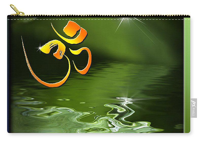 Om Carry-all Pouch featuring the mixed media Om On Green With Dew Drop by Peter v Quenter