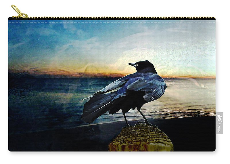 Crow Carry-all Pouch featuring the digital art Omen by Lizi Beard-Ward