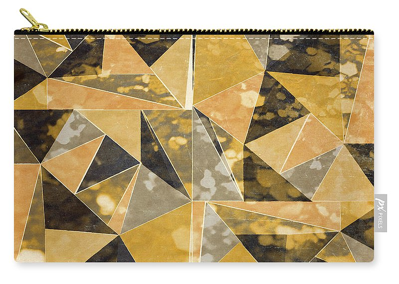 Omg Carry-all Pouch featuring the digital art Omg Gold Triangles I by South Social Studio