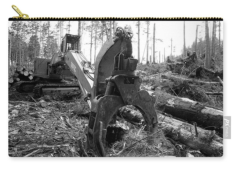 Black And White Carry-all Pouch featuring the photograph Ominous Looking Log Moving Crane by Justin Bailie