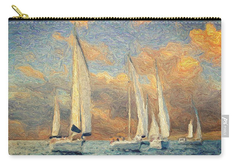 Oil Painting Carry-all Pouch featuring the painting On A Windy Day by Zapista