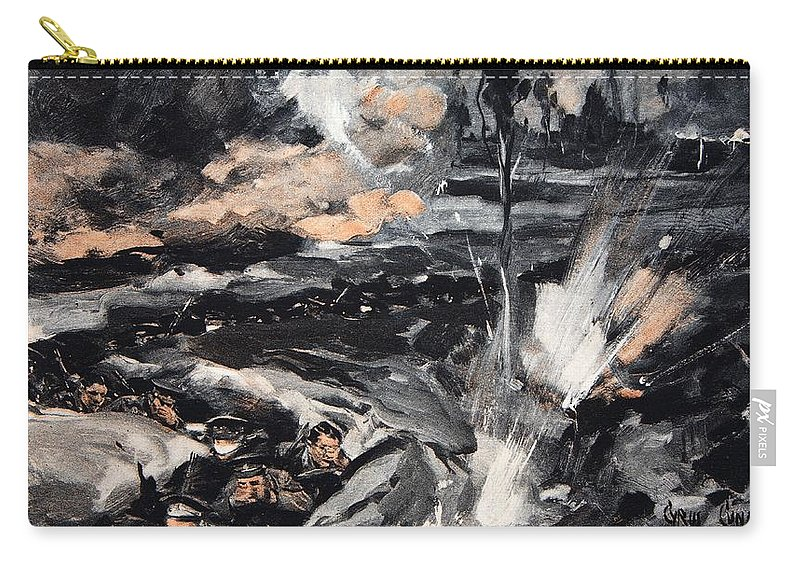 Trenches Carry-all Pouch featuring the drawing On An Occasion When The German Poison by Cyrus Cuneo