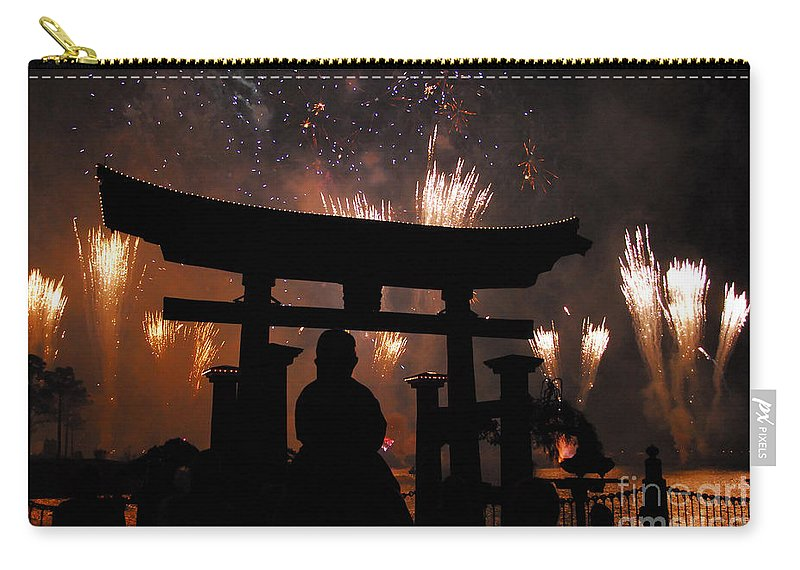 Father Carry-all Pouch featuring the photograph On Dad's Shoulders by David Lee Thompson