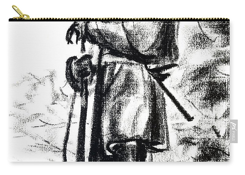 On Duty In Brigadoon No Ch101 Carry-all Pouch featuring the drawing On Duty In Brigadoon No Ch101 by Kip DeVore