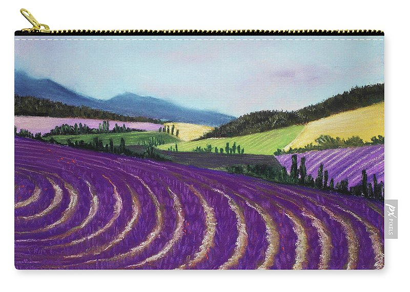 Interior Carry-all Pouch featuring the painting On Lavender Trail by Anastasiya Malakhova