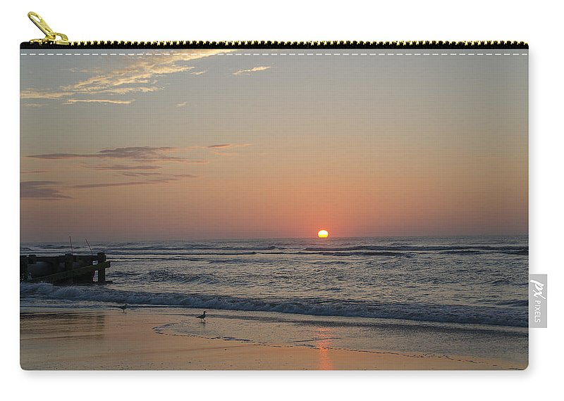 Beach Carry-all Pouch featuring the photograph On The Beach At Sunrise - Wildwood New Jersey by Bill Cannon