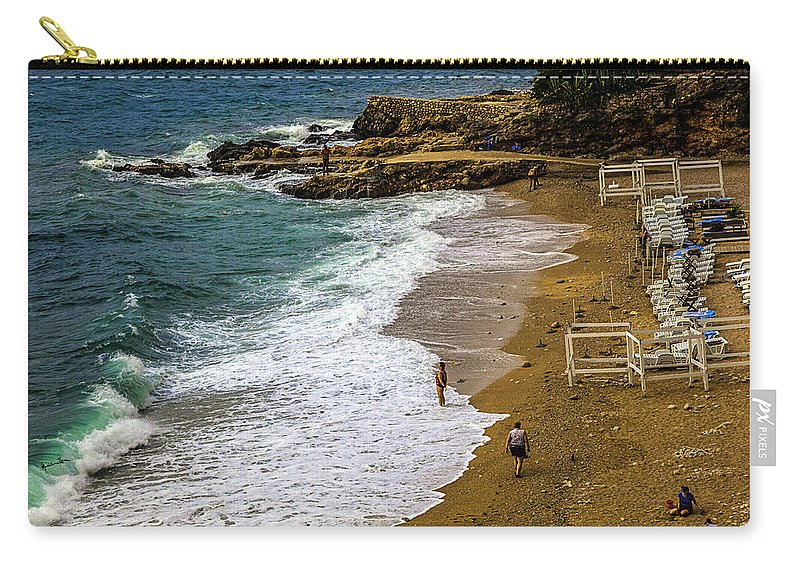 Beach Carry-all Pouch featuring the photograph On The Beach - Dubrovnic by Madeline Ellis