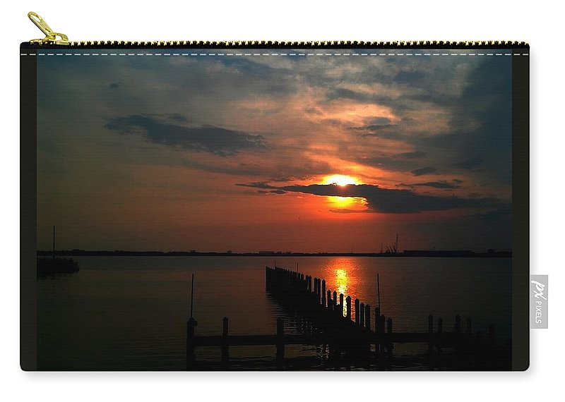 Florida Carry-all Pouch featuring the photograph On The Boardwalk by Debra Forand