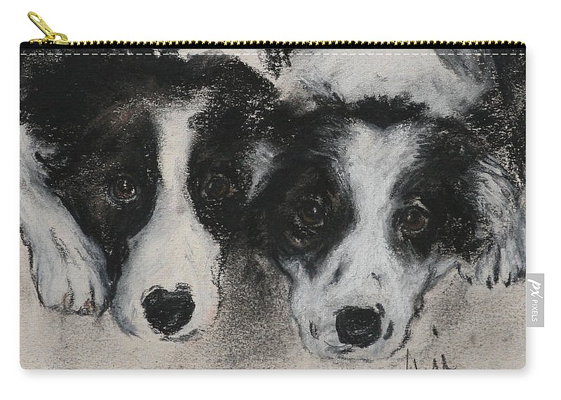 Border Collie Carry-all Pouch featuring the drawing On The Border by Cori Solomon