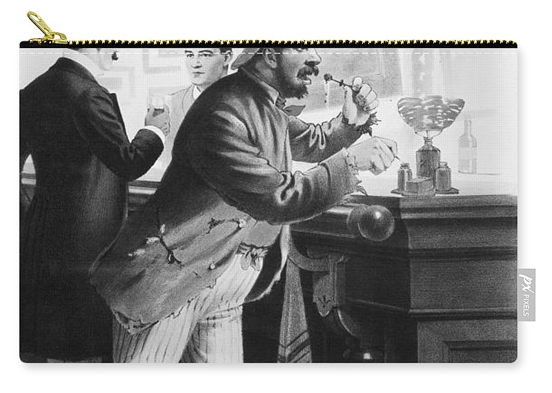 1894 Carry-all Pouch featuring the photograph On The Bowery, 1894 by Granger