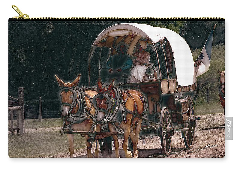 Covered Wagon Carry-all Pouch featuring the digital art On The Bozeman Trail by Kae Cheatham