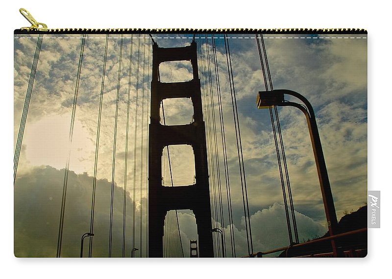 Golden Gate Bridge Carry-all Pouch featuring the photograph On The Bridge by Eric Tressler