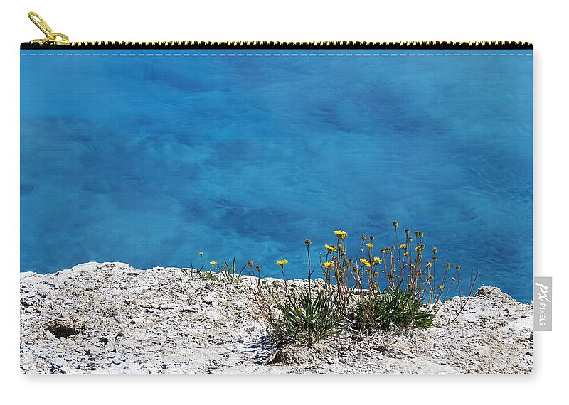 Yellowstone National Park Carry-all Pouch featuring the photograph On The Edge Of Blue by Laurel Powell