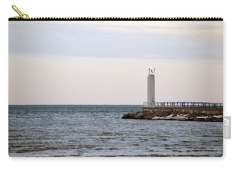 Cheboygan Carry-all Pouch featuring the photograph On The End by Linda Kerkau