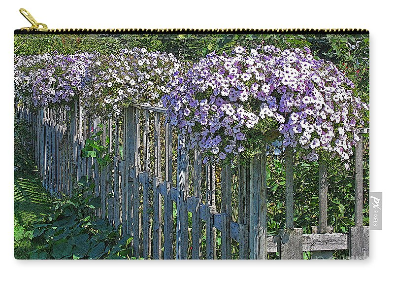 Petunia Carry-all Pouch featuring the photograph On The Fence by Ann Horn
