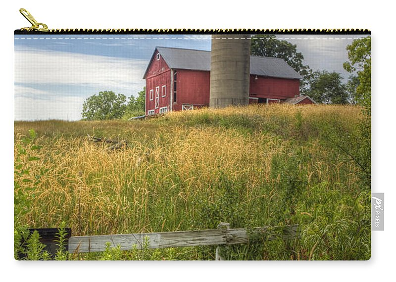 Barn; Silo; Farm; Field; Corn; Blue; Red; Green; Bright; Vibrant; Saturate; Saturated; Colors; Colours; Colorful; Leaves; Fence; Pretty; Sky; Place; Weeds; Rural; Open; Land; Landscape; Trees; Growth; Surreal; Hill; Hilltop Carry-all Pouch featuring the photograph On The Hilltop by Margie Hurwich