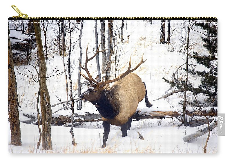 Elk Carry-all Pouch featuring the photograph On the Move by Mike Dawson