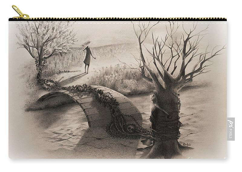 Powerful Carry-all Pouch featuring the drawing On The Other Side by Emily Wickerham