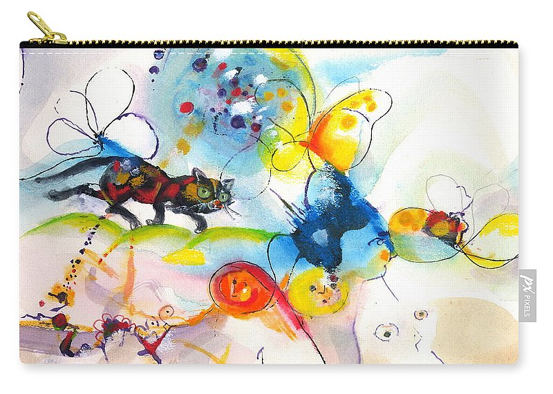 Mixed Media Carry-all Pouch featuring the painting On The Prowl by Mary Armstrong