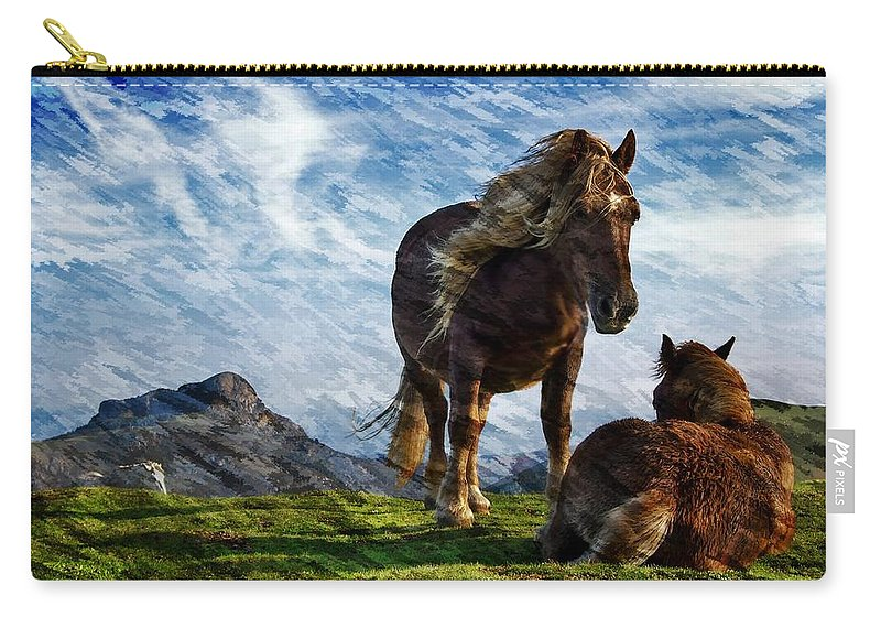 Horses Carry-all Pouch featuring the photograph On The Range by Ericamaxine Price