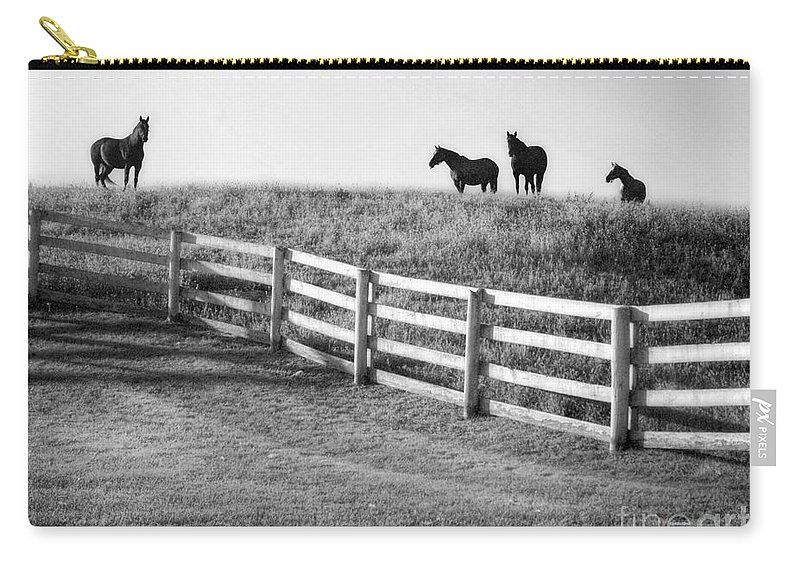 Horses Carry-all Pouch featuring the photograph On The Ridge by Claudia Kuhn