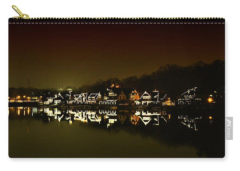 On The River At Night Carry-all Pouch featuring the photograph On The River At Night - Boathouse Row by Bill Cannon