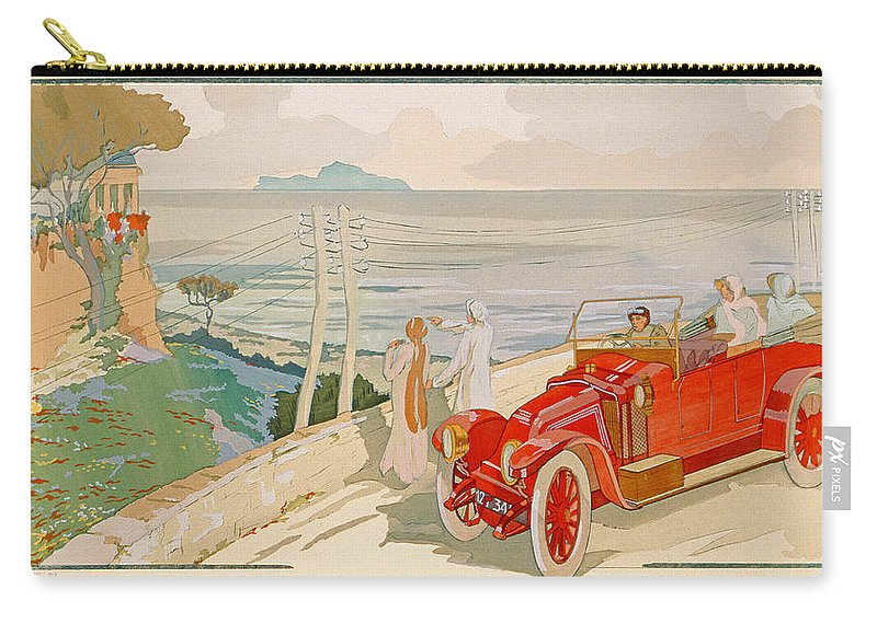 Motoring Carry-all Pouch featuring the painting On The Road To Naples by Aldelmo