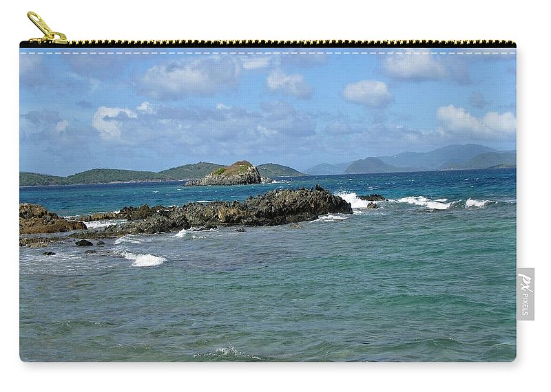 Sapphire Beach Carry-all Pouch featuring the photograph On The Rocks 01 by Pamela Critchlow