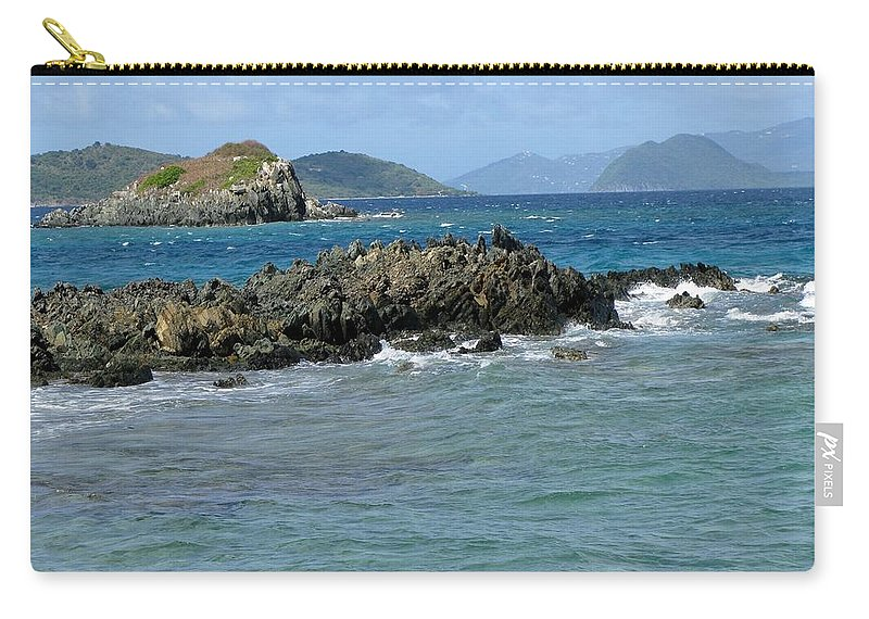 Sapphire Beach Carry-all Pouch featuring the photograph On The Rocks 02 by Pamela Critchlow