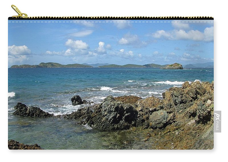 Sapphire Beach Carry-all Pouch featuring the photograph On The Rocks 03 by Pamela Critchlow