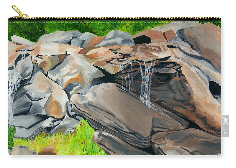 Nature Carry-all Pouch featuring the painting On The Rocks by Annette M Stevenson