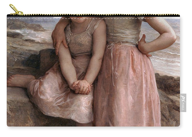 On The Rocky Beach Carry-all Pouch featuring the digital art On The Rocky Beach by William Bouguereau