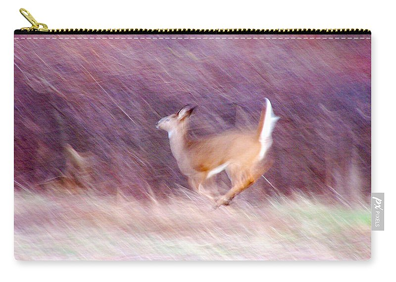 Deer Carry-all Pouch featuring the photograph On The Run by Tracy Winter
