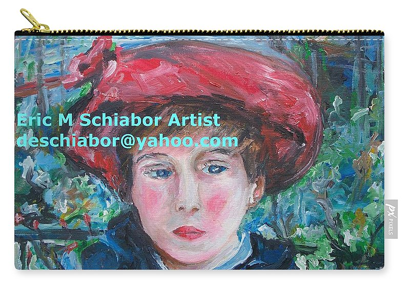 Renoir Carry-all Pouch featuring the painting On The Terrace Renoir Rendition by Eric Schiabor